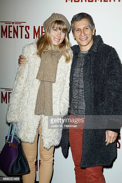 Nagui and his wife Melanie Page attend 'Monuments Men' Paris premiere at Cinema UGC Normandie on February 12 2014 in Paris France