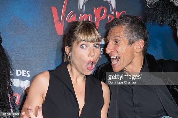 Nagui and Melanie Page attend the 'Le Bal Des Vampires' Premiere at Theatre Mogador on October 16 2014 in Paris France