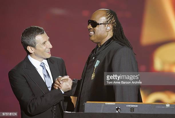 Nagui and Stevie Wonder during the 25th Victoires de la Musique at Zenith de Paris on March 6 2010 in Paris France