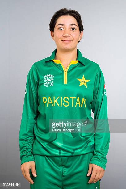 Nahida Khan during the photocall of the Pakistan team ahead of the Women's ICC World Twenty20 India 2016 on March 13 2016 in Chennai India