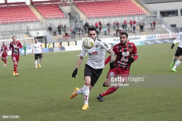 Nahir Besara of Orebro SK Brwa Nouri of Ostersunds FK during the allsvenskan match between Orebro SK and Ostersunds FK at Behrn Arena on April 16...