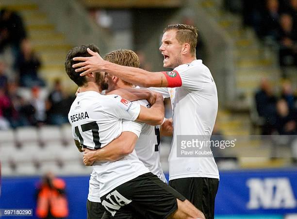 Nahir Besara of Orebro SK celebrates with Robert Ahman Persson of Orebro SK after scoring during the Allsvenskan match between Orebro SK Falkenbergs...