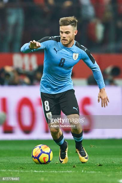 Nahitan Nandez from Uruguay controls the ball while Poland v Uruguay International Friendly soccer match at National Stadium on November 10 2017 in...