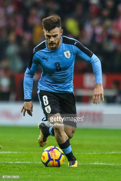 Nahitan Nandez in action during the international friendly match between Poland and Uruguay at National Stadium on November 10 2017 in Warsaw Poland