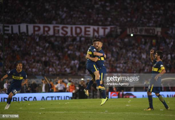 Nahitan Nandez of Boca Juniors celebrates with Dario Benedetto Leonardo Jara and Pablo Perez second goal against River Plate during the match for the...