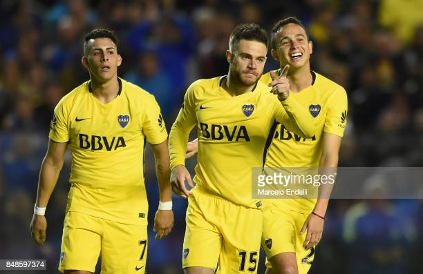 Nahitan Nandez of Boca Juniors celebrates with teammates after scoring the fourth goal of his team during a match between Boca Juniors and Godoy Cruz...