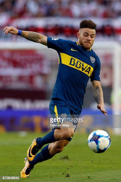 Nahitan Nandez of Boca Juniors drives the ball during a match between River Plate and Boca Juniors as part of the Superliga 2017/18 at Monumental...