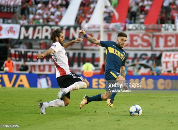 Nahitan Nandez of Boca Juniors fights for the ball with Leonardo Ponziol of River Plate during the match for the eighth date of the Argentine Soccer...
