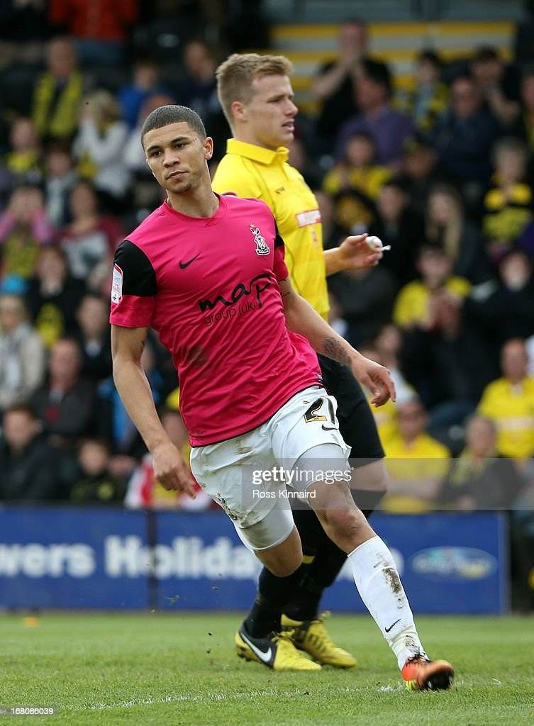 Nahki Wells of Bradford celebrates after scoring the opening goal during the npower League Two Play Off Semi Final: Second Leg match between Burton Albion and Bradford City at Pirelli Stadium on May 5, 2013 in Burton-upon-Trent, England.