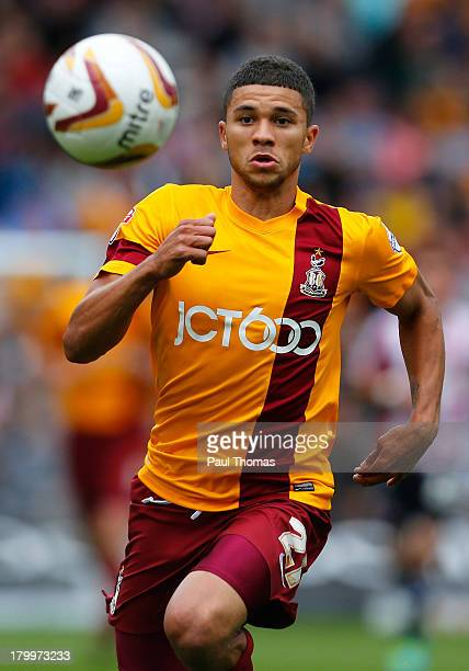 Nahki Wells of Bradford in action during the Sky Bet League One match between Bradford City and Brentford at the Coral Windows Stadium on September 7...