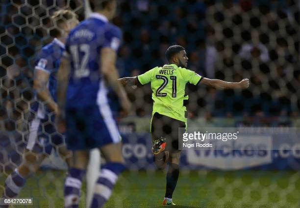 Nahki Wells of Huddersfield Town celebrates after Tom Lees of Sheffield Wednesday scores a own goal during the Sky Bet Championship play off semi...