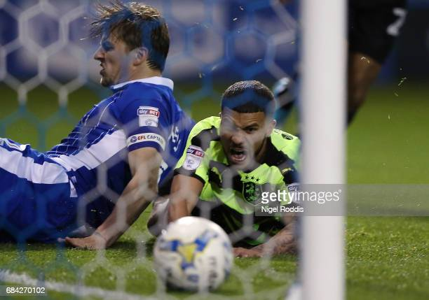 Nahki Wells of Huddersfield Town looks on as Tom Lees of Sheffield Wednesday scores a own goal during the Sky Bet Championship play off semi final...