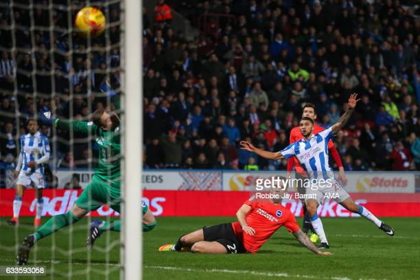 Nahki Wells of Huddersfield Town scores a goal to make it 21 during the Sky Bet Championship match between Huddersfield Town and Brighton Hove Albion...