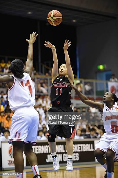 Naho Miyoshi of Japan takes a shot during the women's basketball international friendly match between Japan and Mozambique at Kamiyama City Sports...