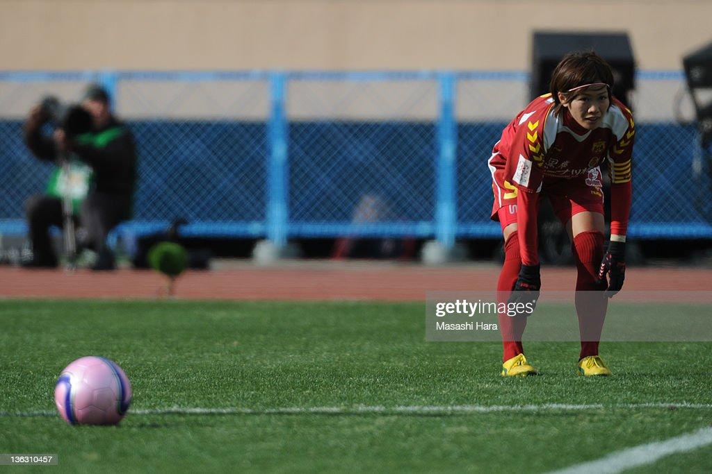 Nahomi Kawasumi #9 of INAC Kobe Leonessa looks on during the All Japan Women's Soccer Championship Final match between Albirex Niigata Ladies and INAC Kobe Leonessa at the National Stadium on January 1, 2012 in Tokyo, Japan.
