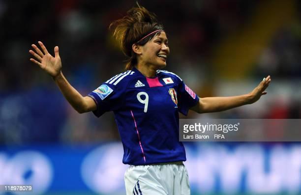 Nahomi Kawasumi of Japan celebrates after scoring her teams third goal during the FIFA Women's World Cup Semi Final match between Japan and Sweden at...