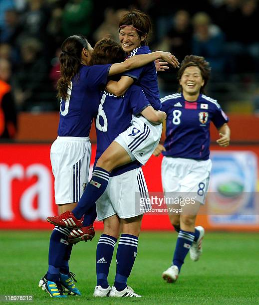 Nahomi Kawasumi of Japan celebrates after scoring her team's third goal during the FIFA Women's World Cup Semi Final match between Japan and Sweden...