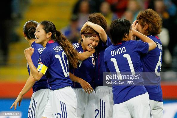 Nahomi Kawasumi of Japan celebrates her second goal against Sweden during the FIFA Women's World Cup Semi Final match between Japan and Sweden at the...