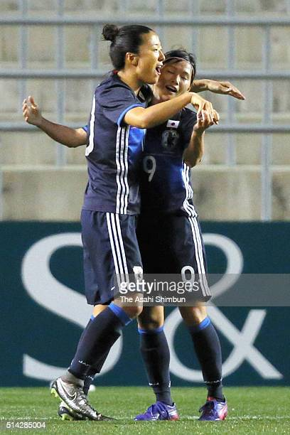 Nahomi Kawasumi of Japan celebrates scoring her team's third goal with her team mate Yuki Ogimi during the AFC Women's Olympic Final Qualification...