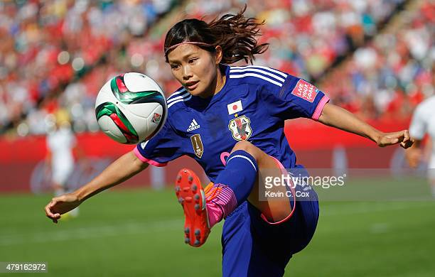 Nahomi Kawasumi of Japan controls the ball during the FIFA Women's World Cup Semi Final match between Japan and England at the Commonwealth Stadium...