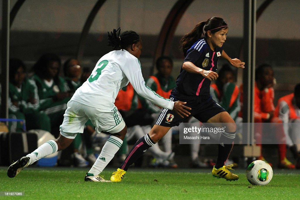 Nahomi Kawasumi #9 of Japan in action during the Women's international friendly match between Japan and Nigeria at Fukuda Denshi Arena on September 26, 2013 in Chiba, Japan.