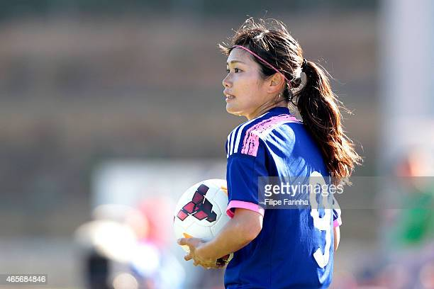 Nahomi Kawasumi of Japan looks on during the Women's Algarve Cup match between Japan and France on March 9 2015 in Parchal Portugal