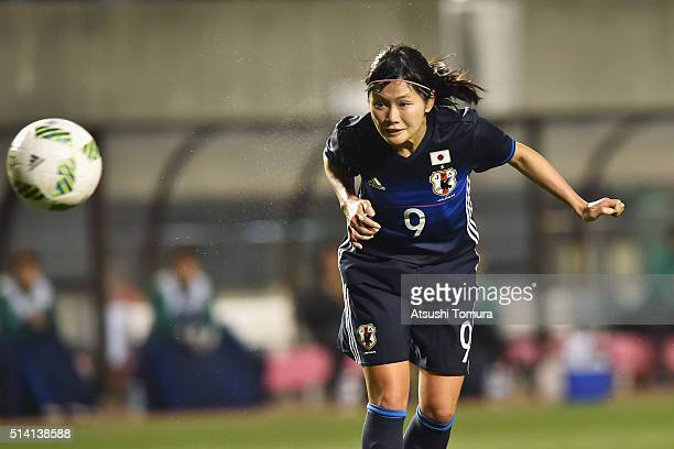Nahomi Kawasumi of Japan scores her team's third goal during the AFC Women's Olympic Final Qualification Round match between Vietnam and Japan at...