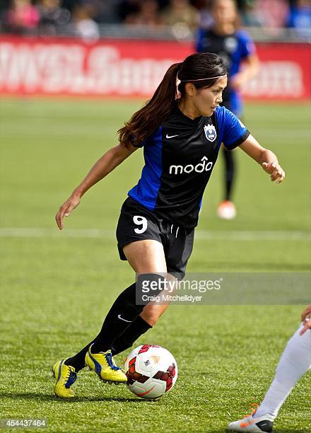 Nahomi Kawasumi of Seattle Reign FC controls the ball against FC Kansas City in the first half of the National Women's Soccer League Championship on...