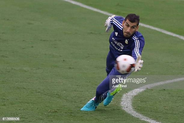 Nahuel Guzman goalkeeper of Argentina dives for the ball during a training session at Alberto Gallardo Stadium on October 04 2016 in Lima Peru