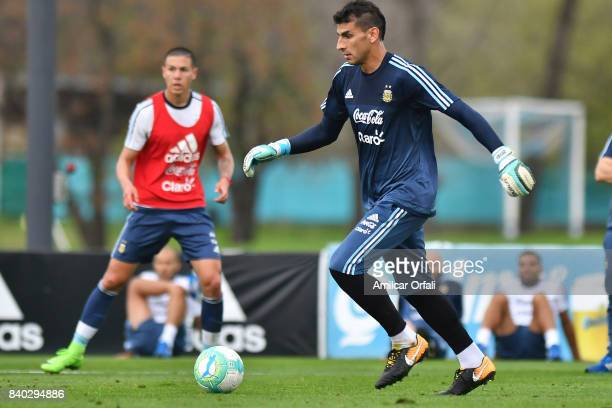 Nahuel Guzman goalkeeper of Argentina drives the ball during a training session at 'Julio Humberto Grondona' training camp on August 28 2017 in...