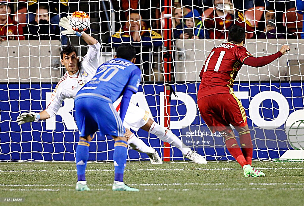 Nahuel Guzman goalkeeper of Tigres blocks a penalty kick by Javier Morales of Real Salt Lake during the quarterfinals second leg match between Real...