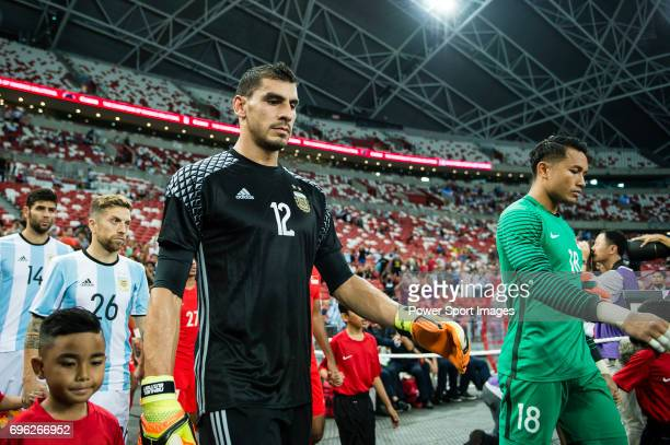 Nahuel Guzman of Argentina getting into the field during the International Test match between Argentina and Singapore at National Stadium on June 13...