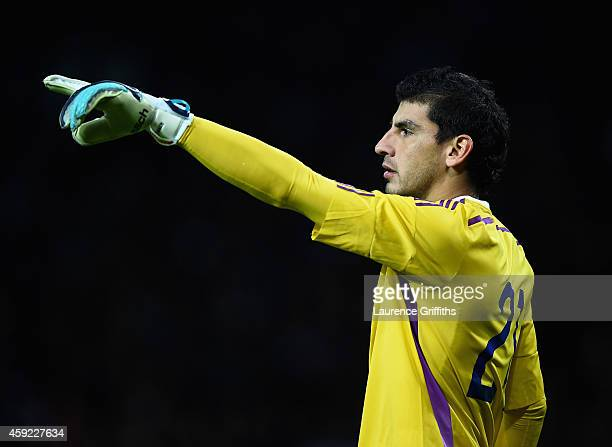 Nahuel Guzman of Argentina in action during the International Friendly match between Argentina and Portugal at Old Trafford on November 18 2014 in...