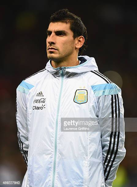 Nahuel Guzman of Argentina lines up for the International Friendly match between Argentina and Portugal at Old Trafford on November 18 2014 in...