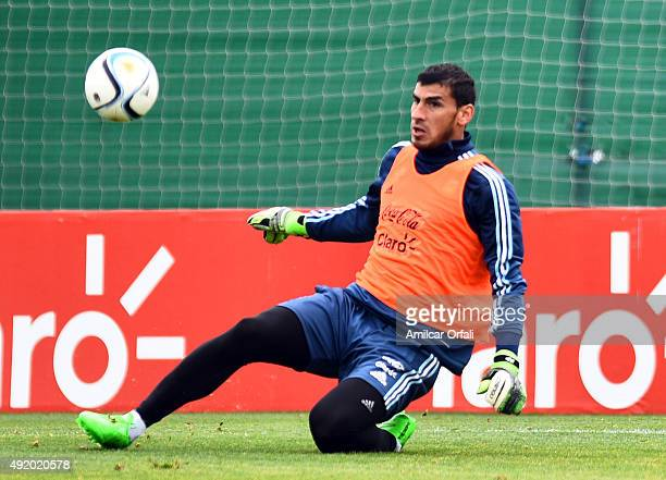 Nahuel Guzman of Argentina makes a save during a training session on October 09 2015 in Ezeiza Argentina Argentina will face Paraguay on October 13...