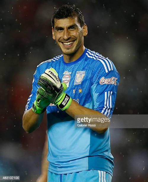 Nahuel Guzman of Tigres smiles during a second leg final match between River Plate and Tigres UANL as part of Copa Bridgestone Libertadores 2015 at...