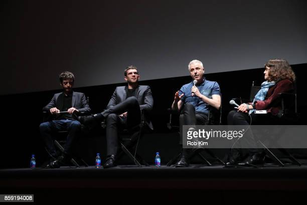 Nahuel Perez Biscayart Arnaud Valois Robin Campillo and Amy Taubin of The Film Society of Lincoln Center attend the QA for the screening of 'BPM '...