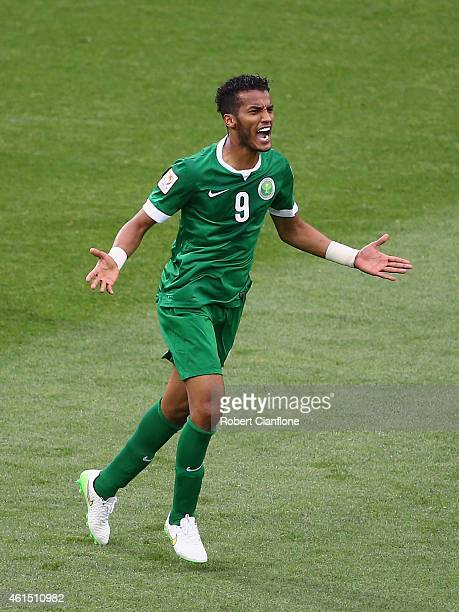 Naif Hazazi of Saudi Arabia celebrates his goal during the 2015 Asian Cup match between DPR Korea and Saudi Arabia at AAMI Park on January 14 2015 in...