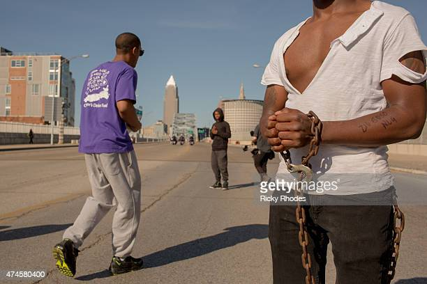 Naijee Patterson 21 of Cleveland on the Detroit Superior Bridge headed towards Downtown Cleveland People take to the streets and protest in reaction...