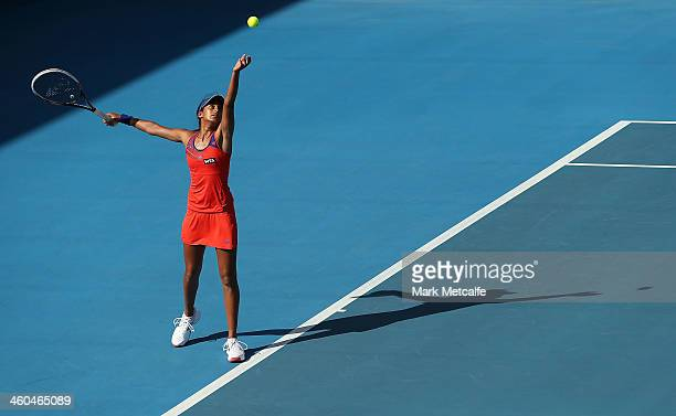 Naiktha Bains of Australia serves in her qualifying singles match against Teliana Pereira of Brazil during the Moorilla Hobart International at...