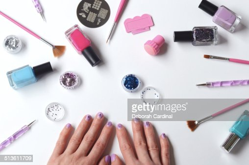 nail art supplies foto de stock getty images. Black Bedroom Furniture Sets. Home Design Ideas