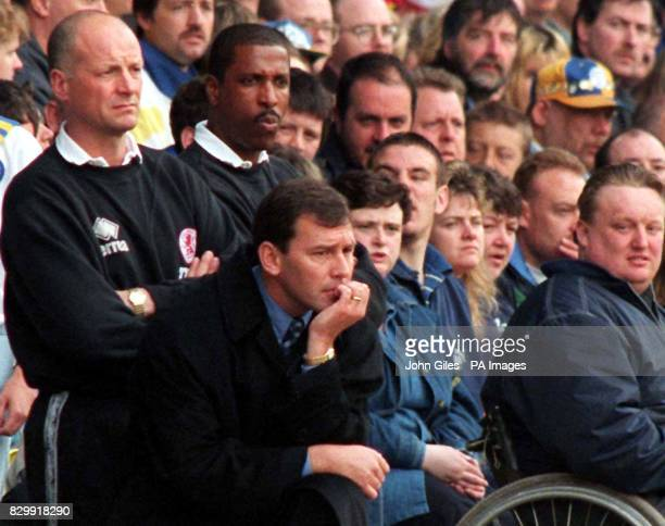 Nail biting finale for Middlesbrough manager Bryan Robson as he watches his side draw against Leeds yesterday resulting in the team's relegation from...