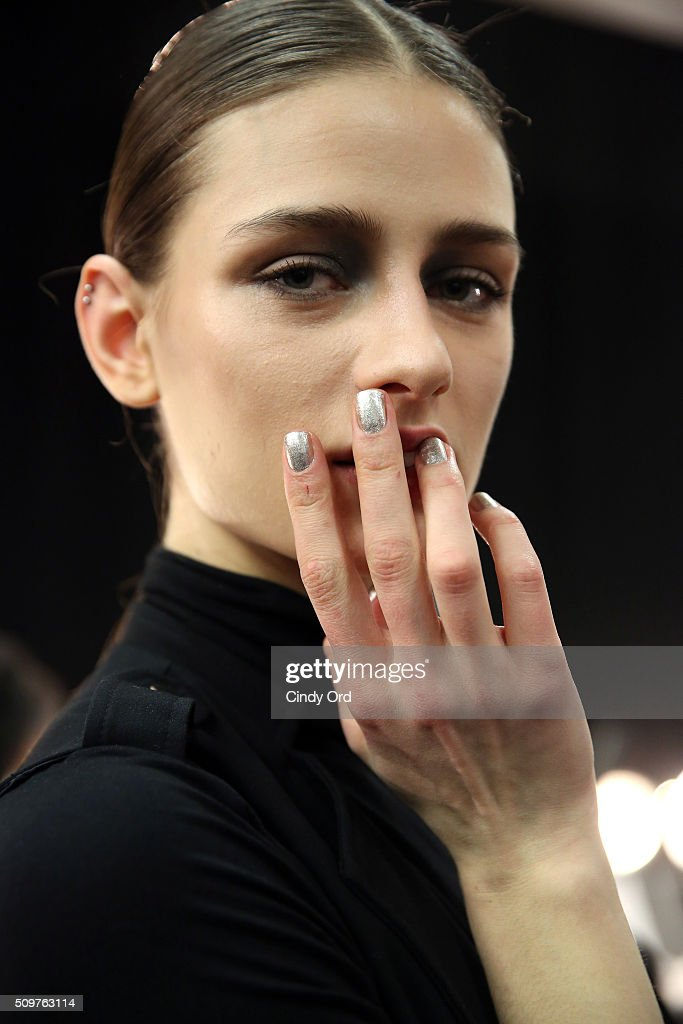 Nail detail on a model as she prepares backstage at the Karigam Fall 2016 fashion show during New York Fashion Week: The Shows at The Space, Skylight at Clarkson Sq on February 12, 2016 in New York City.