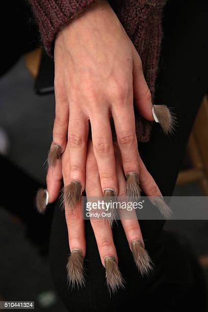 Nail detail on model backstage at the Libertine Fall 2016 fashion show during New York Fashion Week The Shows at The Gallery Skylight at Clarkson Sq...