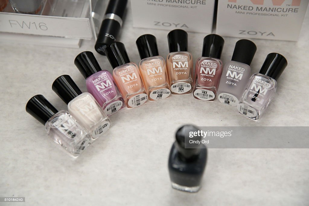 Nail polish backstage at the Tome Fall 2016 fashion show during New York Fashion Week: The Shows at The Dock, Skylight at Moynihan Station on February 14, 2016 in New York City.