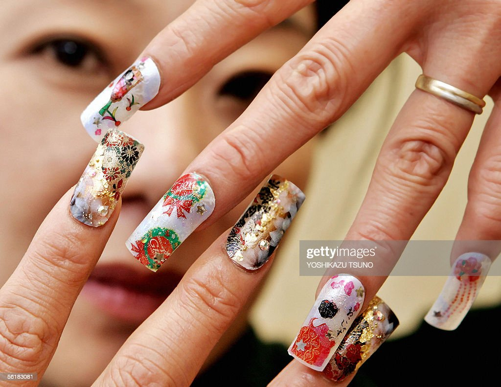 nail salon manager displays its ese acrylic nail art photos nail salon manager kazumi nakagawa displays her ese arcrylic nail art which is designed the