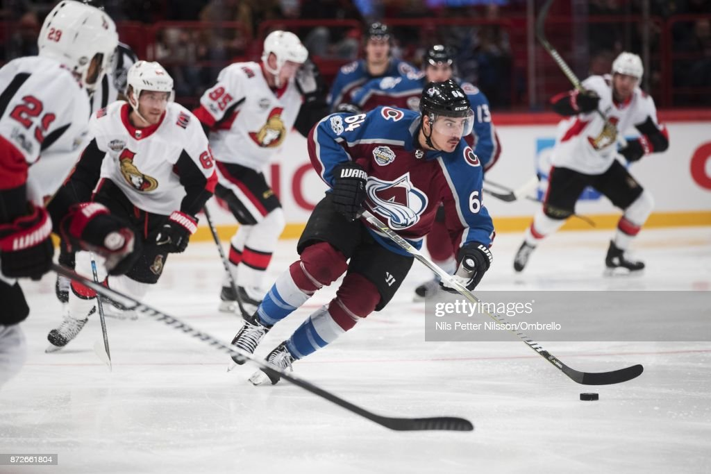 Nail Yakupov #64 of Colorado Avalanche during the 2017 SAP NHL Global Series match between Ottawa Senators and Colorado Avalanche at Ericsson Globe on November 10, 2017 in Stockholm, .