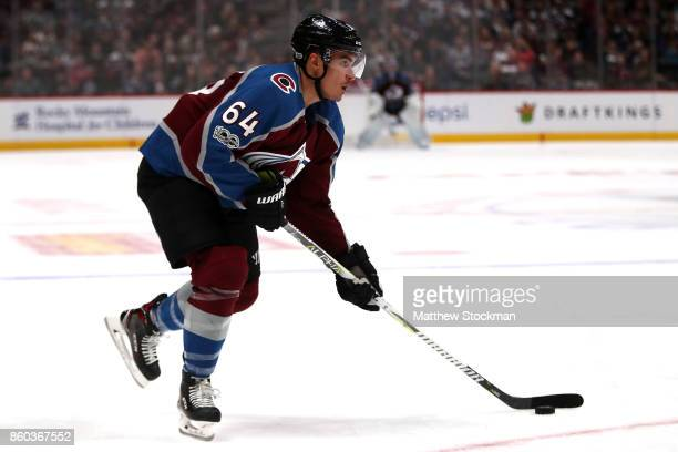 Nail Yakupov of the Colorado Avalanche advances the puck against the Boston Bruins at the Pepsi Center on October 11 2017 in Denver Colorado