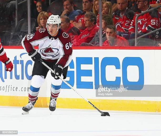 Nail Yakupov of the Colorado Avalanche plays the puck during the game against the New Jersey Devils at Prudential Center on October 7 2017 in Newark...