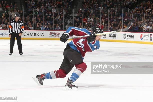 Nail Yakupov of the Colorado Avalanche takes a shot against the Anaheim Ducks at the Pepsi Center on October 13 2017 in Denver Colorado 'n